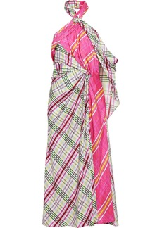 Prabal Gurung Woman Draped Checked Silk-faille Halterneck Midi Dress Pink