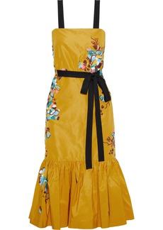 Prabal Gurung Woman Embellished Printed Silk-faille Midi Dress Marigold