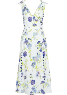 Prabal Gurung Woman Floral-print Broderie Anglaise Cotton Midi Dress White