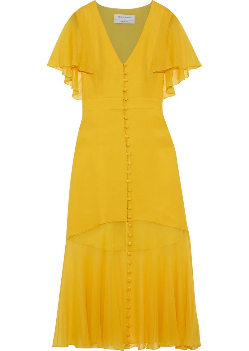 Prabal Gurung Woman Fluted Chiffon-paneled Silk-crepe Midi Dress Yellow