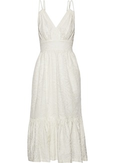 Prabal Gurung Woman Gathered Broderie Anglaise Cotton Midi Dress White