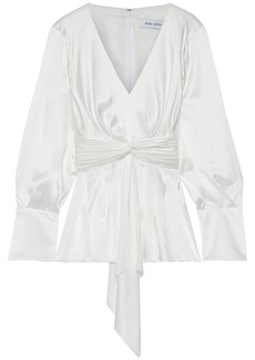 Prabal Gurung Woman Knotted Pleated Silk-satin Blouse Ivory