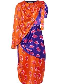 Prabal Gurung Woman Layered Button-detailed Printed Silk-satin Dress Violet