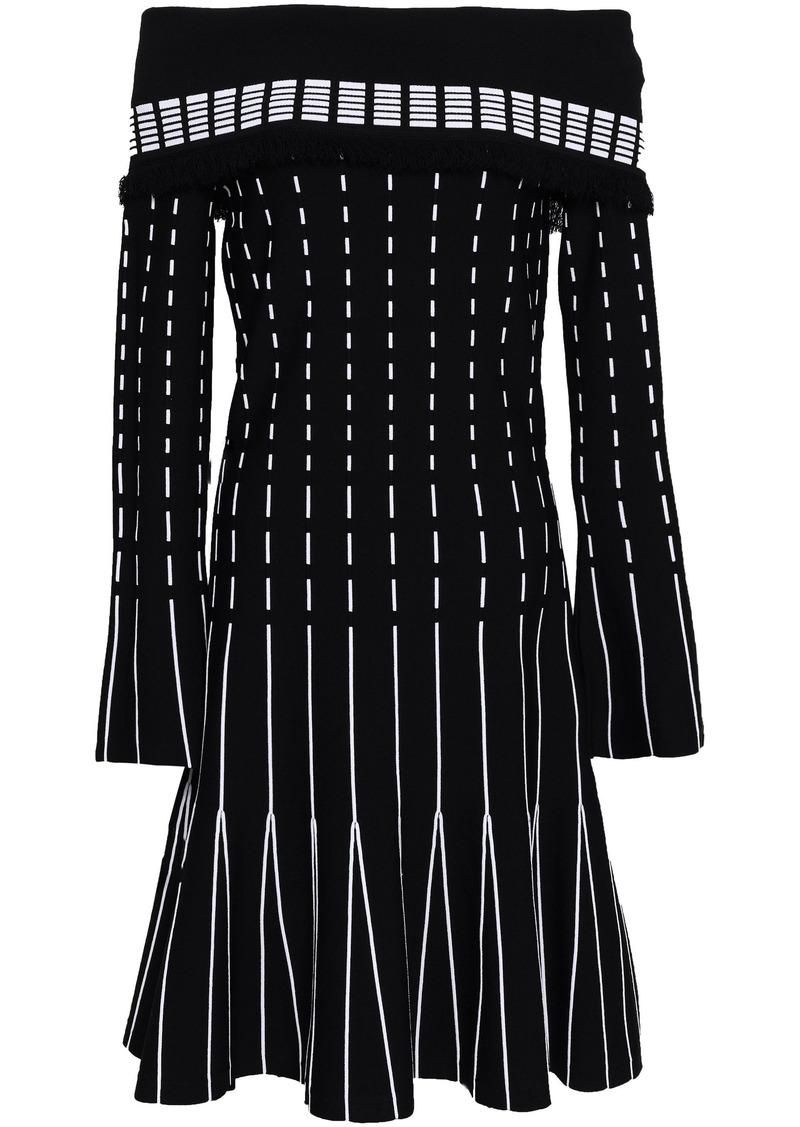Prabal Gurung Woman Off-the-shoulder Pleated Intarsia-knit Dress Black
