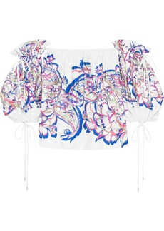 Prabal Gurung Woman Off-the-shoulder Printed Cotton-blend Top White