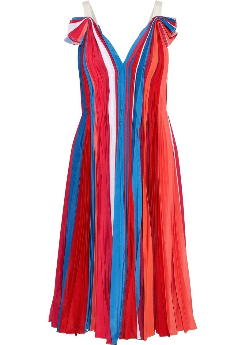 Prabal Gurung Woman Pleated Color-block Silk Crepe De Chine Dress Multicolor