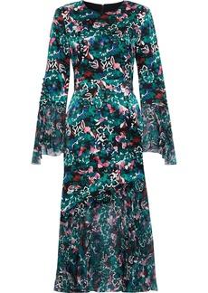 Prabal Gurung Woman Printed Chiffon-paneled Silk-satin Dress Emerald