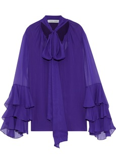 Prabal Gurung Woman Pussy-bow Tiered Silk-chiffon Blouse Purple