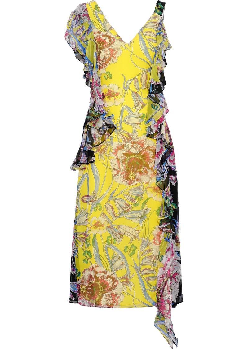 Prabal Gurung Woman Rana Ruffled Floral-print Silk Crepe De Chine Midi Dress Bright Yellow