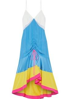 Prabal Gurung Woman Satin-paneled Color-block Silk Crepe De Chine Midi Dress Azure