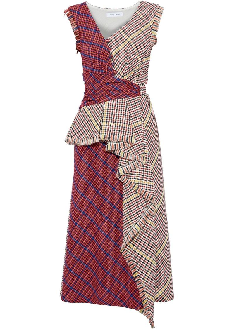Prabal Gurung Woman Shar Button-detailed Checked Woven Midi Dress Multicolor