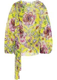 Prabal Gurung Woman Stevie Knotted Floral-print Silk-chiffon Blouse Bright Yellow