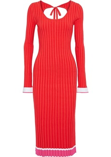 Prabal Gurung Woman Striped Ribbed-knit Midi Dress Tomato Red