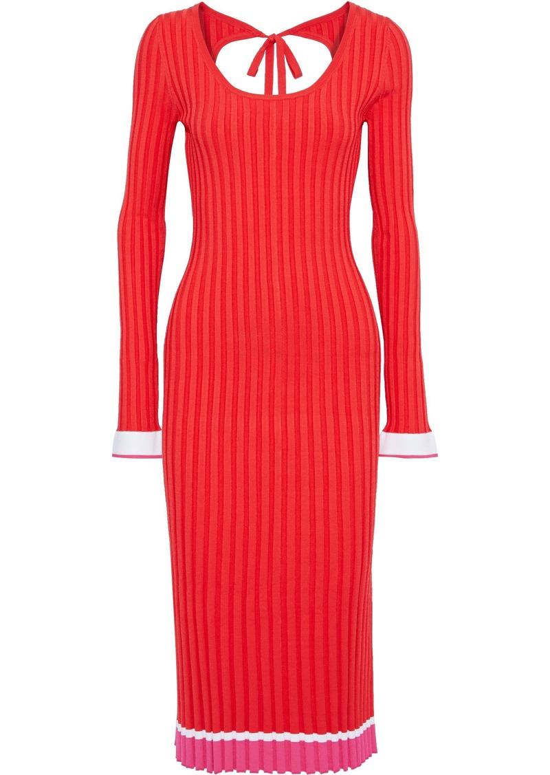 Prabal Gurung Woman Striped Ribbed-knit Midi Dress Tomato Red