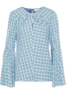 Prabal Gurung Woman Twist-front Checked Cotton Shirt Indigo