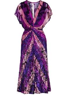 Prabal Gurung Woman Twist-front Metallic Fil Coupé Striped Chiffon Dress Violet