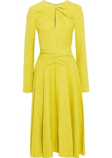 Prabal Gurung Woman Twist-front Ruched Jacquard Midi Dress Bright Yellow