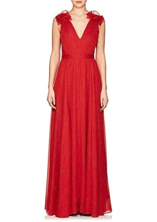 Prabal Gurung Women's Embellished Lamé-Finished Plissé Gown