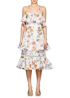 Prabal Gurung Women's Floral Jacquard Matelassé Tiered Dress