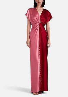 Prabal Gurung Women's Twisted Colorblocked Silk Satin Gown
