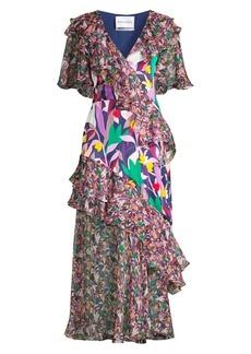 Prabal Gurung Ruffled Chiffon Mixed-Print Midi Dress