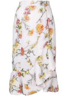 Prabal Gurung ruffled hem floral jacquard skirt