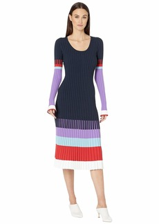 Prabal Gurung Scoop Neck Color Blocked Long Sleeve Dress
