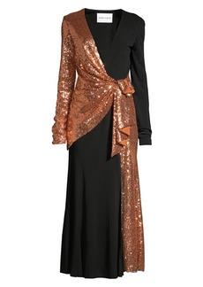 Prabal Gurung Sequin & Silk Wrapped Midi Cocktail Dress