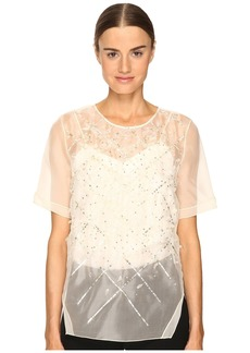 Prabal Gurung Short Sleeve Embroidered Blouse