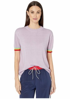 Prabal Gurung Short Sleeve Rainbow Cuff Crew Neck Fine Gauge Weight
