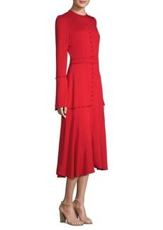 Prabal Gurung Silk Long-Sleeve A-Line Midi Dress