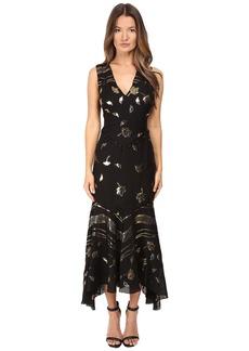 Prabal Gurung Sleeveless V-Neck Chiffon Flounce Dress