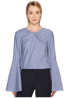 Prabal Gurung Stripe Cotton Long Sleeve Keyhole Blouse