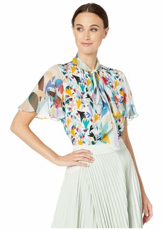 Prabal Gurung Tie Neck Flutter Sleeve Top