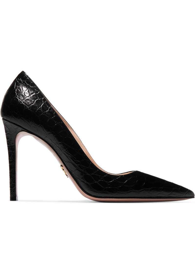Prada 100 Glossed Croc-effect Leather Pumps