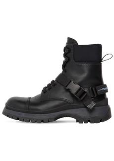 Prada 30mm Leather & Neoprene Combat Boots