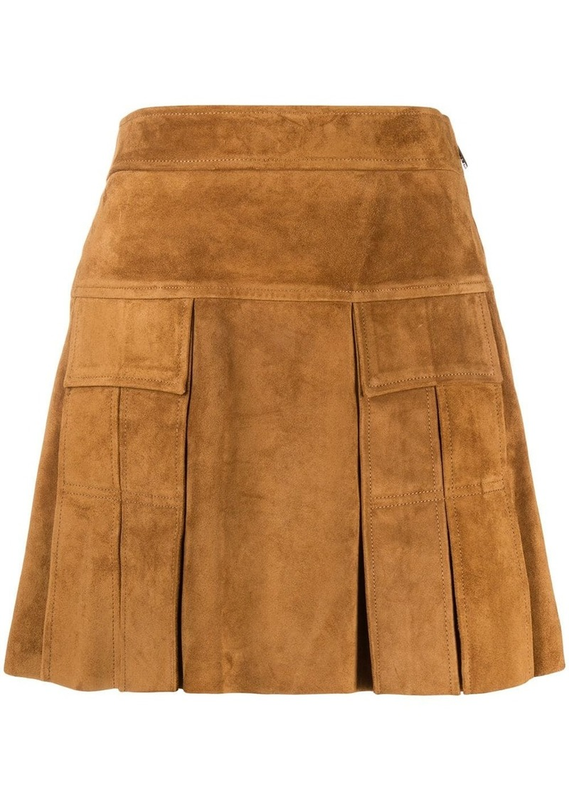 Prada A-line suede mini-skirt
