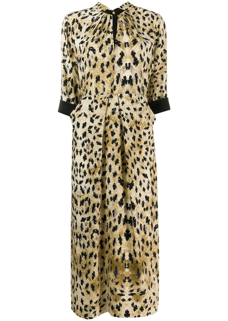 Prada animal print midi dress