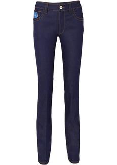 Prada Appliquéd High-rise Slim-leg Jeans