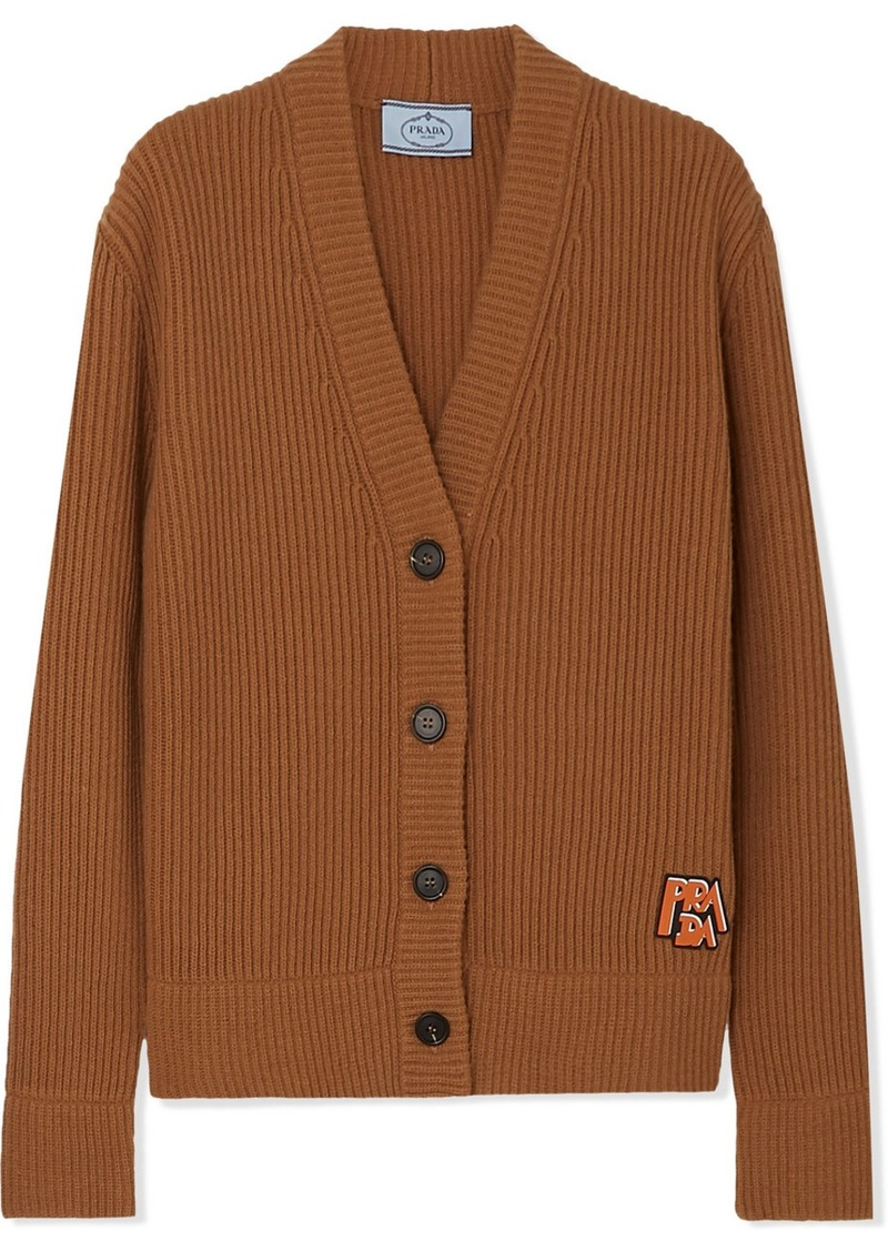 Prada Appliquéd Ribbed Wool And Cashmere-blend Cardigan