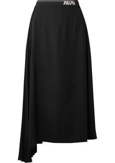 Prada Asymmetric Pleated Crepe Midi Skirt