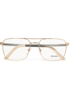 Prada Aviator-style Gold-tone And Acetate Optical Glasses