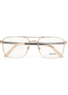 Prada Aviator-style Gold-tone And Acetate Optical Glasses