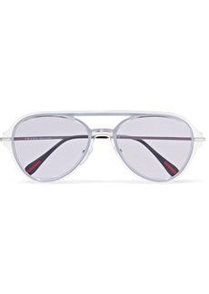 Prada Aviator-style silver-tone and acetate sunglasses