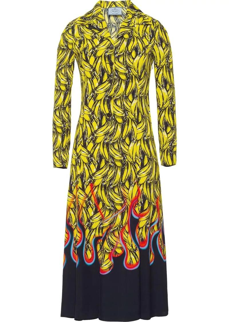 Prada banana print midi dress