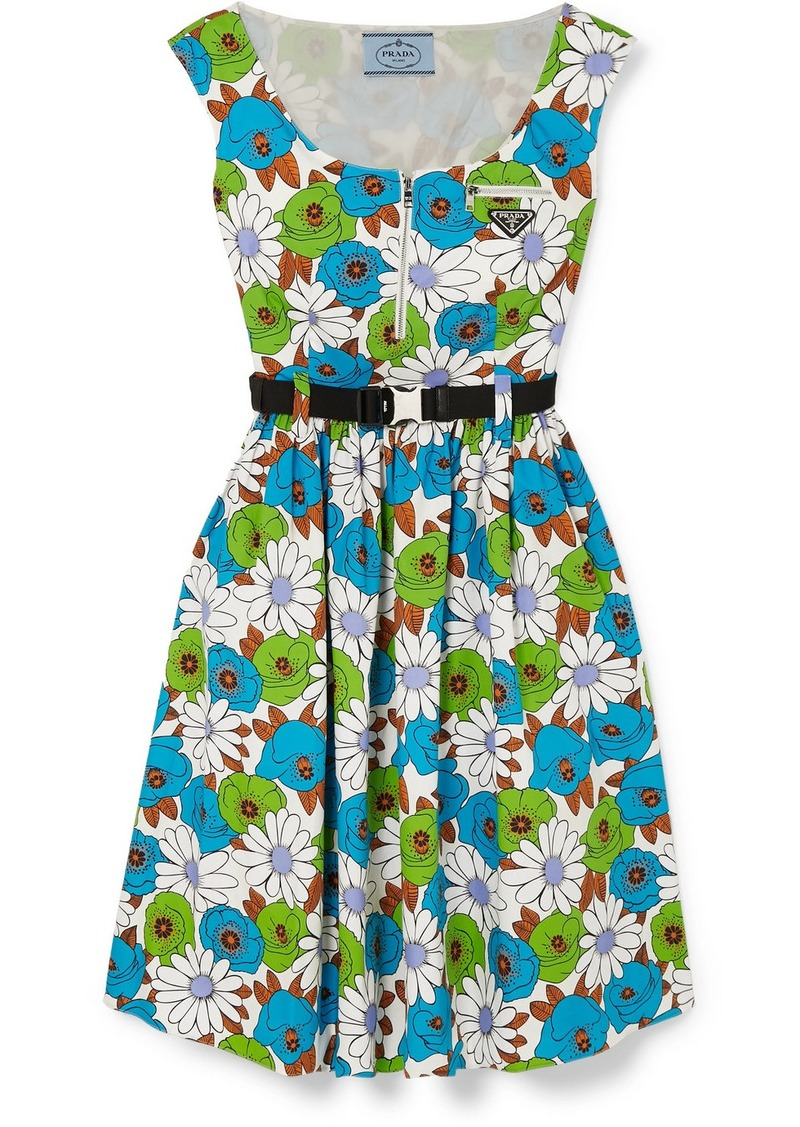 Prada Belted Floral-print Cotton-poplin Dress