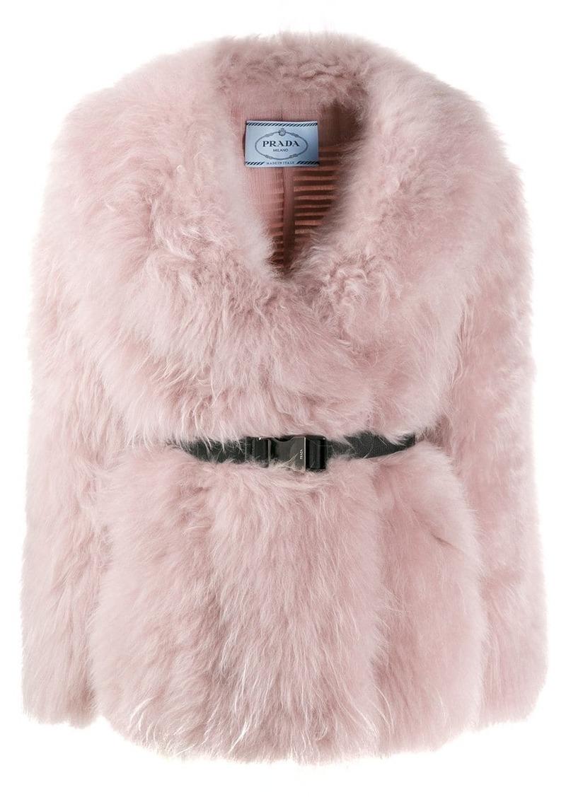 Prada belted goat fur jacket