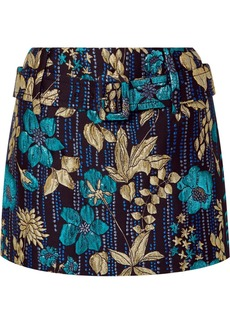 Prada Belted Metallic Brocade Mini Skirt