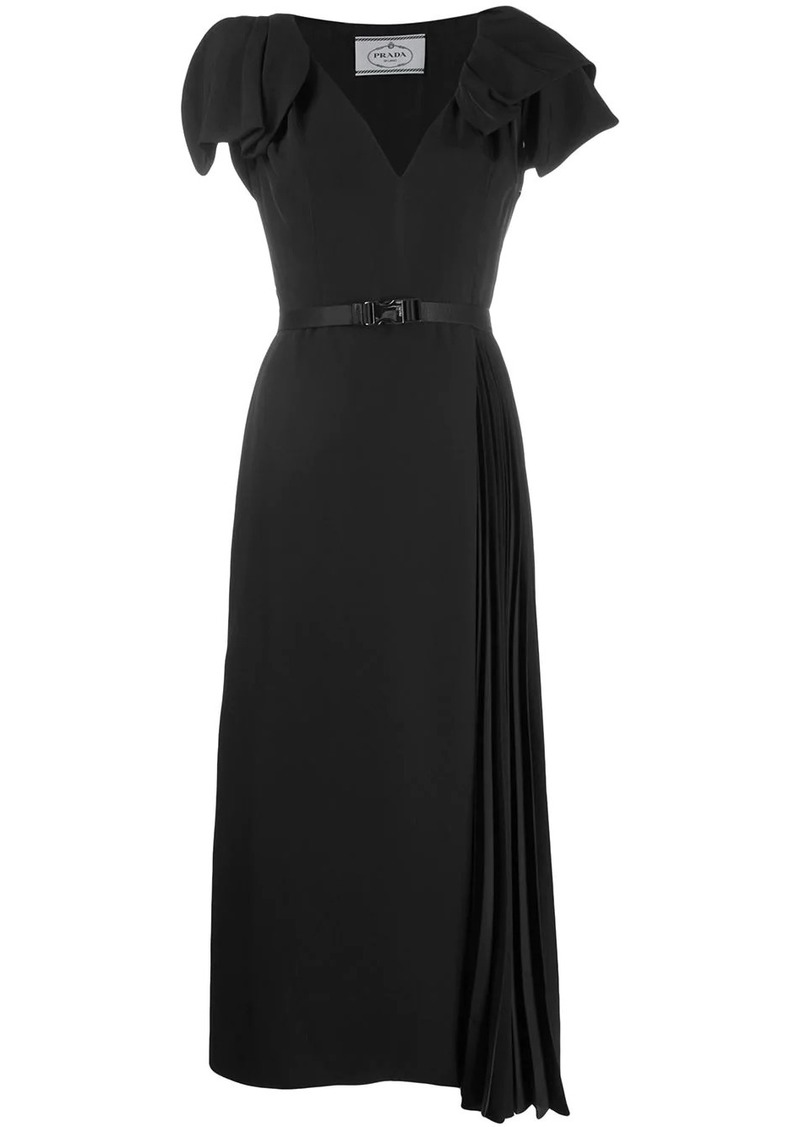 Prada belted pleated dress