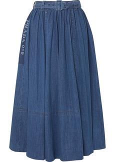 Prada Belted Printed Denim Midi Skirt